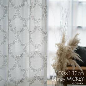 レース カーテン MICKEY/ミッキー フラワーリース 幅100×丈133cm 1枚入Disney8□おしゃれ レース かわいい 女の子 日本製 レースカーテン ウォッシャブル UVカット 形状記憶 ホワイト リビング 子供部屋 スミノエ Disneyzone