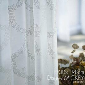 レース カーテン MICKEY/ミッキー フラワーリース 幅100×丈198cm 1枚入Disney8□おしゃれ レース かわいい 女の子 日本製 レースカーテン ウォッシャブル UVカット 形状記憶 ホワイト リビング 子供部屋 スミノエ Disneyzone