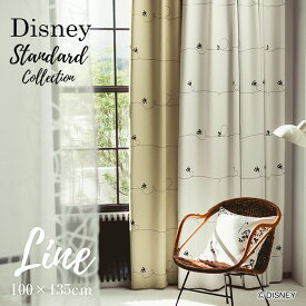 [P10倍 2/16 13:59迄]ディズニー カーテン 遮光 MICKEY ミッキー ライン 幅100×丈135cm 1枚入Disney 6□ 北欧 シンプル ライン シルエット 日本製 洗える スミノエ Disneyzone