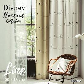 [P10倍 2/16 13:59迄]カーテン 遮光 MICKEY/ミッキー ライン 幅100×丈178cm 1枚入ディズニー Disney6□ ラフなラインの上でミッキーが楽しそうに遊んでいる、シンプルモダンで使いやすい遮光カーテン。スミノエ Disneyzone