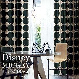 ディズニー カーテン 遮光 MICKEY/ミッキー スコープ 幅100×丈200cm 1枚入ブラック ベージュ ブラウン 日本製 洗える 北欧 ドット Disney 7 □スミノエ Disneyzone[NS]