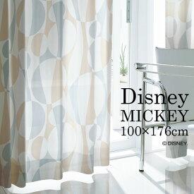 レース カーテン MICKEY/ミッキー シルエットウェーブ 幅100×丈176cm 1枚入ブルー ベージュ デザイン おしゃれ ディズニー Disney7□スミノエ Disneyzone[NS]