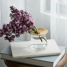 KINTO キントー LUNA ベース 80×70mm(クリア) ルナ ソーダガラス 真鍮 花器 花瓶 フラワーベース 一輪挿し 北欧 THKT19SS■ KINTO※メーカー直送品
