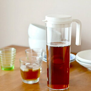 麦茶ポット 耐熱 プラグ ウォータージャグ 1.2L kinto キントー 【 クッチーナ 】 麦茶 ポット ピッチャー 耐熱 横置き 洗いやすい 冷水筒 冷水ポット 麦茶入れ 食洗機対応 スリム 水だしコーヒ