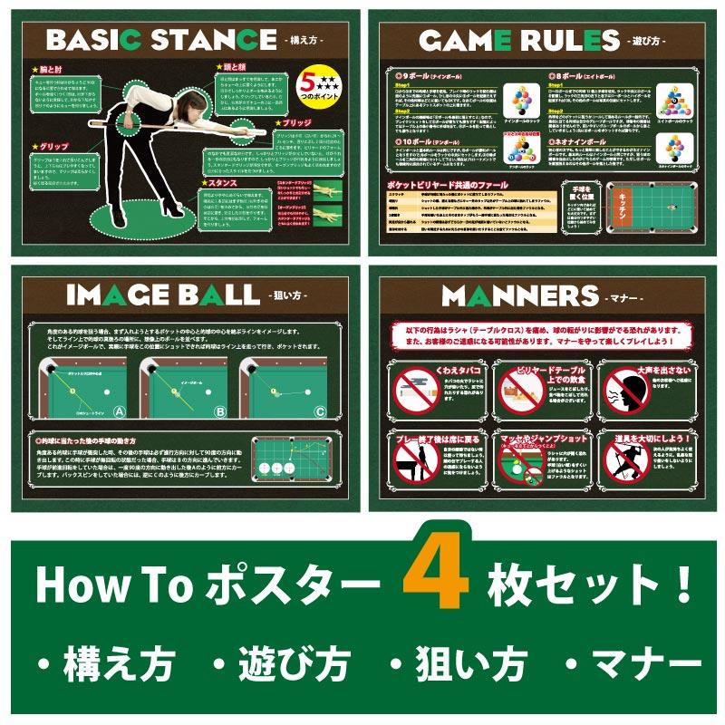 ビリヤード How to ポスターセット B2サイズ (515×728) 全4枚セット