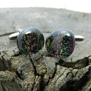オリジナル手作りガラス カフス Ground Rainbow カフリンクスアクセサリー メンズジュエリー ジュエリーギフト プレゼント お祝い 結婚式 礼服 結婚式 冠婚葬祭 ビジネス スーツ メンズ 男性 彼