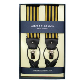 ALBERT THURSTON アルバートサーストン サスペンダー ゴールド ブラック ストライプメンズアクセサリーの通販ギフト プレゼント お祝い 結婚式 ビジネス 新生活 父の日 彼氏 夫 バレンタイン