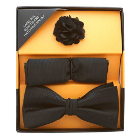 ボウタイ&ポケットチーフ&ラペルピン セット ブラックギフト プレゼント お祝い 結婚式 ビジネス 新生活 父の日 彼氏 夫 バレンタイン