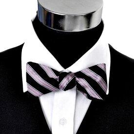 蝶ネクタイ ボウタイ ピンク&ブラック ライン ストライプギフト プレゼント お祝い 結婚式 ビジネス 新生活 父の日 彼氏 夫 バレンタイン
