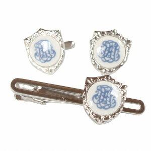 Swank & Royal Copenhagen スワンク & ロイヤルコペンハーゲン ホワイトブルーデザイン2カフスボタン・ネクタイピンセット メンズ rcsw013014