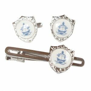 Swank & Royal Copenhagen スワンク & ロイヤルコペンハーゲン ホワイトブルーデザイン4カフスボタン・ネクタイピンセット メンズ rcsw017018