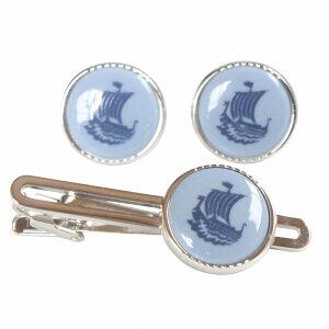 Swank & Royal Copenhagen スワンク & ロイヤルコペンハーゲン ブルー船カフスボタン・ネクタイピンセット rcsw019020