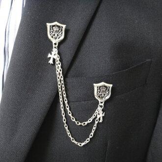 胸針鏈輪胸針雙徽章附帶男子翻領大頭針鏈輪和交叉的翻領胸針