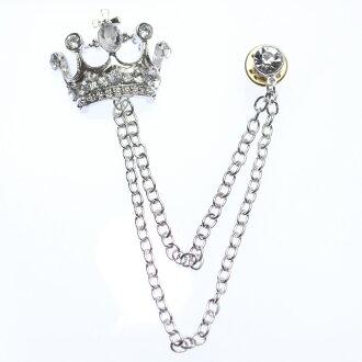 王冠閃閃發光的斯通·鏈子翻領大頭針·胸針