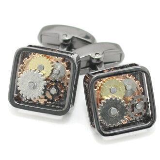 青铜色的机械齿轮方形袖扣 (袖扣和袖扣)