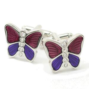 ピンクパープル バタフライ キラキラ蝶々 カフス カフリンクス カフスボタン ユニーク おもしろ 面白 面白い 動物 植物シリーズ スーツアクセサリー専門店 誕生日 プレゼント プチギフト お