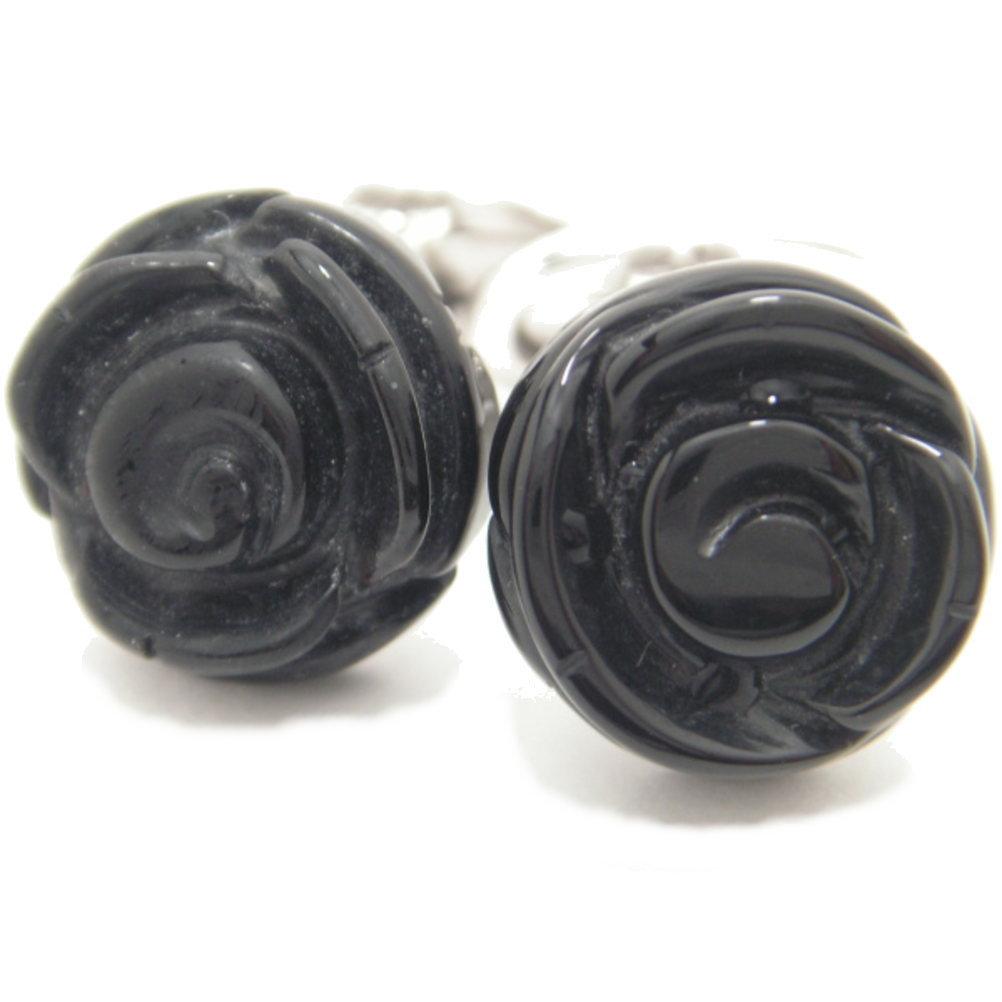 取寄品 JanLeslie ブラックオニキスの薔薇カフス カフスボタン カフリンクス cufflinks cuffs メンズ 男性 ユニーク 動物 植物シリーズ