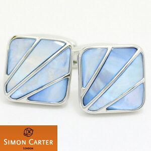 カフス サイモンカーター 英国 ブランド SIMON CARTER DECO FANブルー マザー オブ パール カフス カフスボタン カフリンクス cufflinks cuffs メンズ 男性 カフス おしゃれ プレゼント 誕生日 贈り物 パ