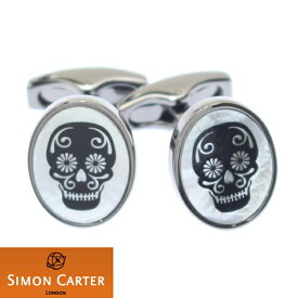 カフス サイモン カーター 英国 ブランド SIMON CARTER Black Skull ガンメタル×マザーオブパール カフス カフリンクス カフスボタン