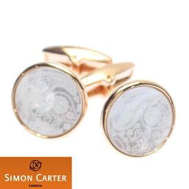 カフス サイモン カーター 英国 ブランド SIMON CARTER Paisley ローズゴールド×マザーオブパール カフス カフリンクス カフスボタン