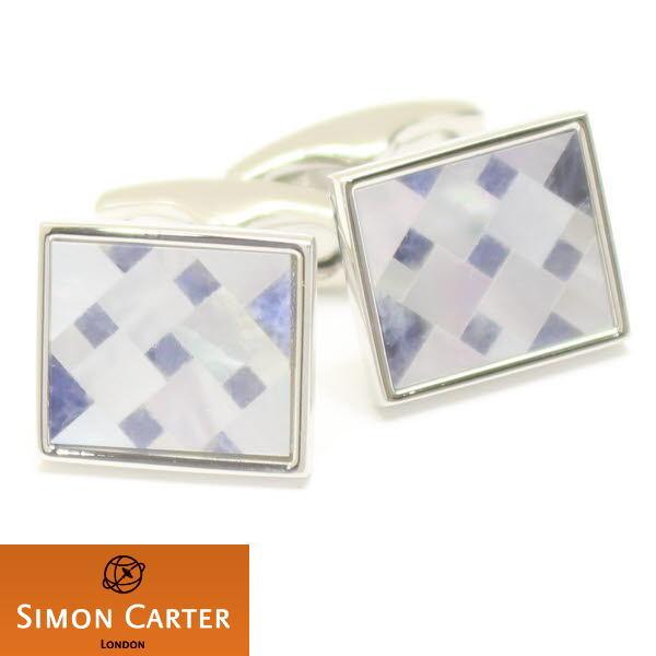カフス サイモン カーター 英国 ブランド SIMON CARTER Cubist ソーダライト×マザーオブパール ダイヤ柄のカフス