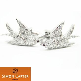 袖口西蒙卡特英國名牌SIMON CARTER水晶燕子袖口袖扣袖口Lynx cufflinks cuffs人男性袖口獨特的動物植物系列西服配飾專營商店生日禮物微型禮物漂亮的袖口狂熱者
