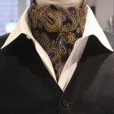 アスコットタイ メンズ 結婚式 ゴールド×ブルービッグペイズリー ジャカード スーツアクセサリー専門店 父の日 ギフ…