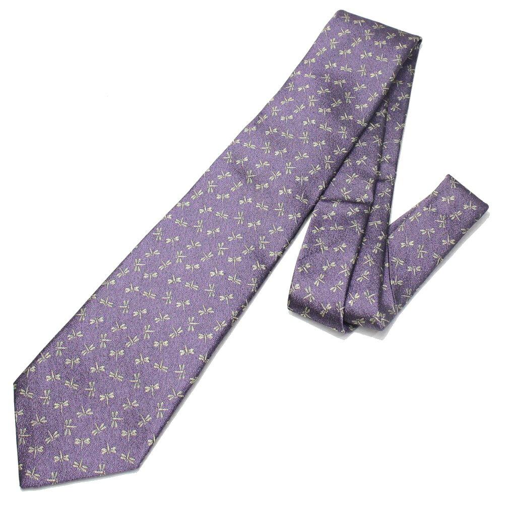 富士桜工房 桔梗鼠 蜻蛉とんぼ 日本製シルクジャカードの和風 ネクタイ スーツ用ファッション 小物 ネクタイ 贈り物 ギフト 結婚式 オシャレ