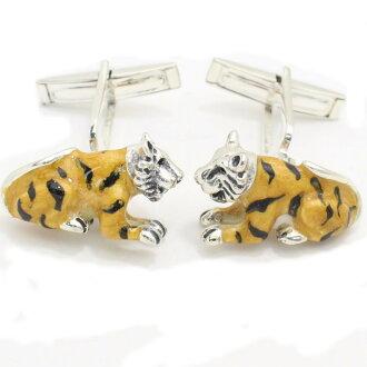 凶猛的老虎躺袖扣 (袖扣和袖扣)