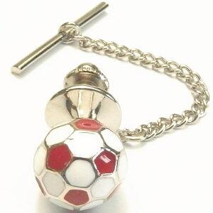 イングランド赤×白のサッカーボールのタイタック ピンブローチ タイニーピン タックピン オシャレ ユニーク おもしろ 面白 面白い スーツアクセサリー専門店 誕生日 プレゼント プチギフ