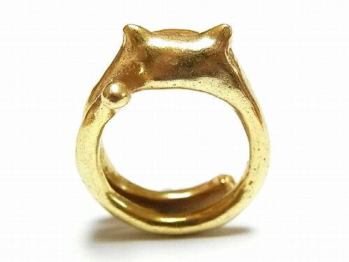 ネコリングパルナートポック猫★メール便送料無料★『ふぐふぐねこ』(ゴールドブラック)クイールキャラメリゼPalnartPocアクセサリージュエリーかわいいアニマルモチーフ動物レディース指輪グッズ星おもしろ可愛いピアスブローチネックレス