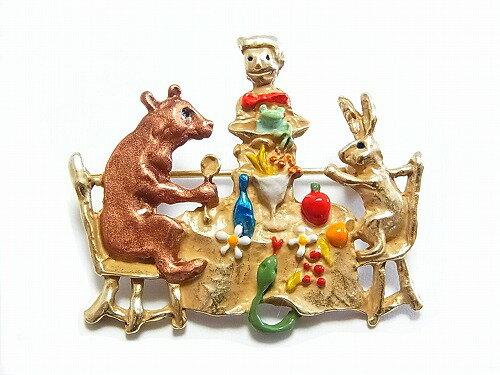 パルナートポックブローチ★メール便送料無料★『森の宴』【PalnartPoc】ブラフシューペリアアニマル動物ウサギクマ花星アクセサリー個性的プレゼントメルヘン絵本物語かわいいグッズジュエリー兔可愛いハンドメイドカラフルフェミニン