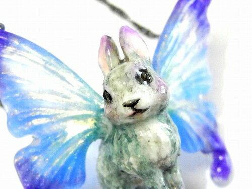 『森の妖精ネックレス』(ブルー系)【Wadou-koubou/和道工房】アニマル動物かわいいどうぶつメルヘン物語絵本ナチュラル自然ハンドメイド手作りおしゃれラビットうさぎ兔ウサギフェアリー蝶バタフライ不思議ファンタジープレゼントnecklaceJewelry