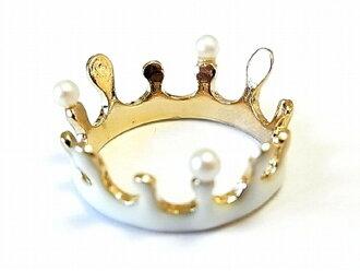 """也ruchikaringu王冠★★""""Milk crown珍珠""""漂亮的kawaiijueriakusesarinachurarupiasunekkuresuburochiredisu個性性的有趣的戒指感到可愛的禮物星明星花雜貨白童話"""