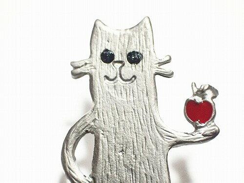 ルチカピアスネコ猫★メール便送料無料★『アップルキャット(カラー:シルバー)』Luccicaりんご林檎アクセサリージュエリーねこ個性的可愛いレディースアニマル動物誕生日プレゼント女性スタッドモチーフカワイイおもしろ