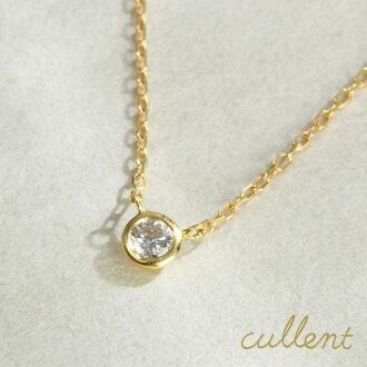K18 diamond necklace liberty /K18/18 gold / gold / yellow / necklace / pendant / diamond / 1 grain / grain / Super-Luxe / _OK