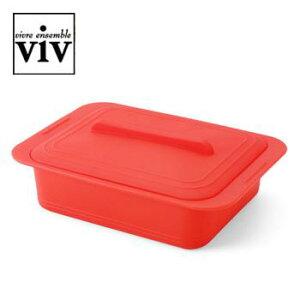 VIV シリコンスチーマー Quattro クワトロ スチームトレイ付 パプリカレッド 59622 AST-K1[関連:ViV ヴィヴ キッチングッズ レンジ調理 食器洗浄機対応 電子レンジ・オーブン対応]