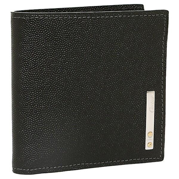 【4時間限定ポイント10倍】カルティエ Cartier 財布 レディース Cartier カルティエ L3000772 サントスライン 2つ折り財布 ブラック