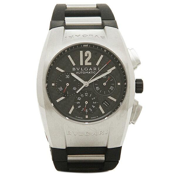 ブルガリ BVLGARI 時計 腕時計 メンズ BVLGARI ブルガリ エルゴン オートマチック クロノグラフ ラバー ブラック&シルバー/カーボンブラック メンズ EG40BSVDCH ウォッチ 腕時計 シリアル有