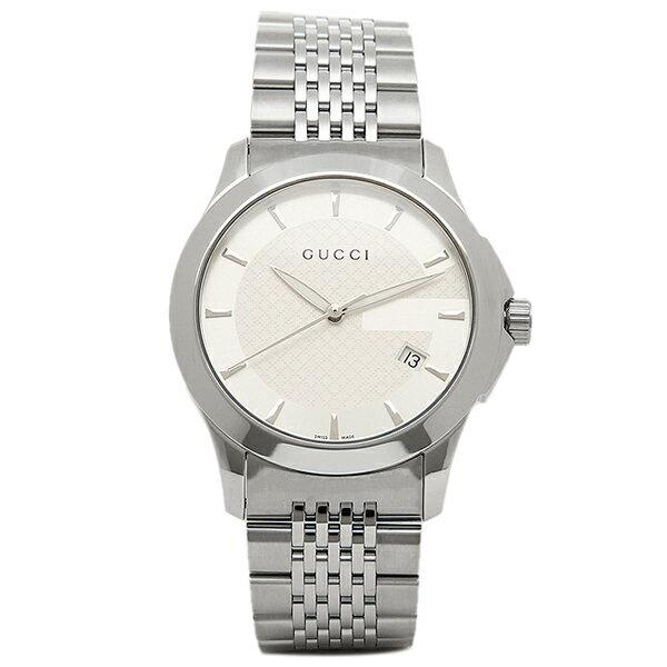 【6時間限定ポイント10倍】グッチ GUCCI 時計 腕時計 メンズ YA126401 Gタイムレス ホワイト/シルバー ウォッチ WATCH