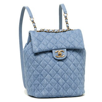 Chanel bag CHANEL A91121 Lady's Y60436 2B314 ウォッシュドデニムゴールド metal fittings rucksack backpack LIGHT BLUE