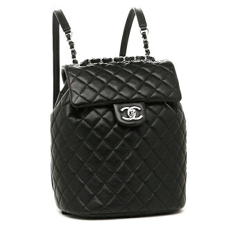 Chanel bag CHANEL A91121 Lady's Y60440 94305 lambskin silver metal fittings rucksack backpack BLACK
