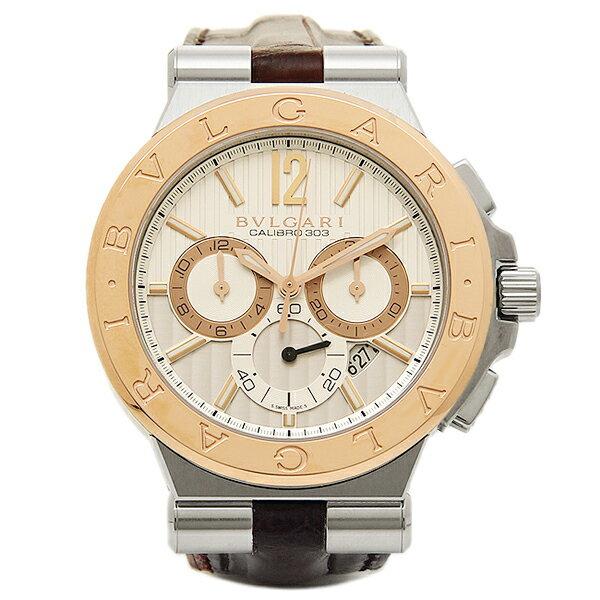 【4時間限定ポイント10倍】ブルガリ 時計 メンズ BVLGARI DG42C6SPGLDCH ディアゴノ カリブ303 クロノグラフ 腕時計 ウォッチ ホワイト/ピンクゴールド/ブラウン