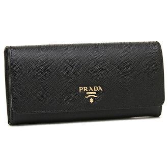 Prada wallet Lady's PRADA 1MH132 QWA F0002 SAFFIANO METAL ORO long wallet NERO