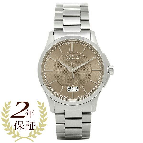 【24時間限定ポイント5倍】グッチ 時計 GUCCI YA126431 G-タイムレス 自動巻き メンズ腕時計 ウォッチ ブラウン/シルバー