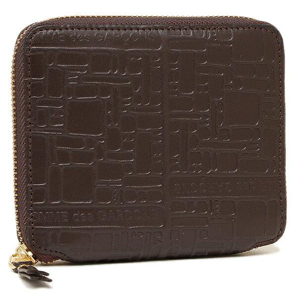 コムデギャルソン 財布 レディース/メンズ COMME des GARCONS SA2100EL EMBOSSED LOGOTYPE ZIP AROUND SMALL WALLET 二つ折り財布 BROWN