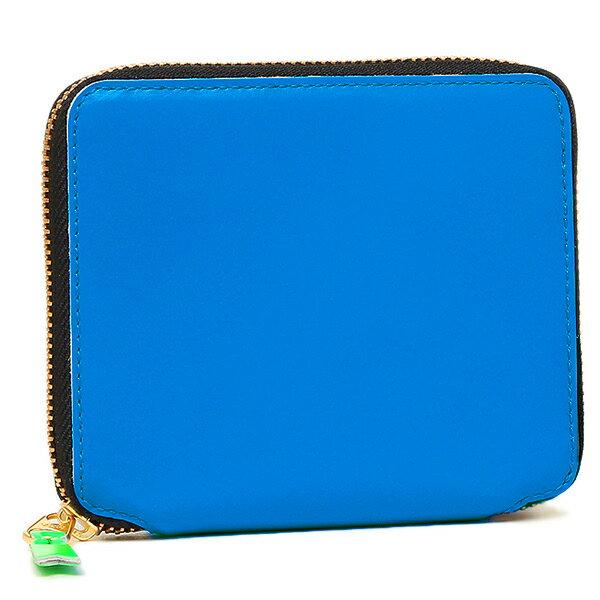 コムデギャルソン 財布 レディース/メンズ COMME des GARCONS SA2100SF SUPER FLUO ZIP AROUND SMALL WALLET 二つ折り財布 BLUE
