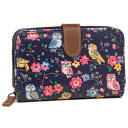 キャスキッドソン 折財布 CATH KIDSTON 592703 FOLDED ZIP WALLET MINI OWLS AND FLOWERS 二つ折り財布 NAVY