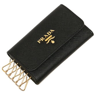 Prada key holder PRADA 1PG222 QWA F0002 SAFFIANO METAL ORO PORTACHIAVI 0 NERO
