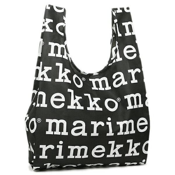 マリメッコ MARIMEKKO バッグ レディース トートバッグ マリメッコ エコバッグ MARIMEKKO 41395 910 MARILOGO SMARTBAG スマートバッグ 折りたたみ トートバッグ BLACK/WHITE